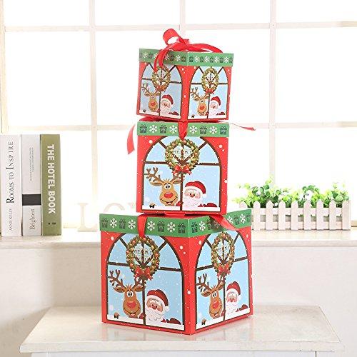 Christmas Gift Box Cartoon Gift Set Three-Piece Snowflake Gift Box Christmas Scene Decorations Christmas Tree Ornaments Christmas wreath style by Dong Cun Bai (Image #1)