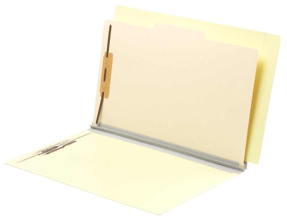 TAB FORTIfile Pressboard Classification Folder 1 Divider Legal Size Expansion Summer Yellow 20/Box
