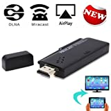 Yuntab CX-A3S Wifi Display Dongle for iPhone/ iPad/ Mac Book (DLNA iOS8+ AirPlay), Android Phones Tablets 4.2+ (Multi-screen) Sharing Photo/ Music/ Video/ Game/ Internet & Entire Screen from Mobile Phones on HDMI Big TV Screen without Buffer Delay