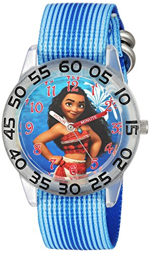 Disney Girl's 'Moana' Quartz Plastic and Nylon Casual Watch, Color:Blue (Model: WDS000043)
