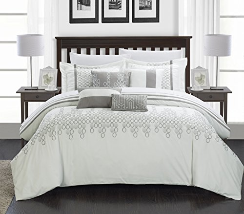 Chic Home 8-Piece Lauren Contemporary Comforter Set, King, White from Chic Home