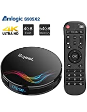 Bqeel Amlogic S905X2 Android Box 9.0 with 4GB RAM 64GB ROM, Y4 Max Andriod TV Box Dual-Band WiFi 2.4G/5.8G 3D Ultra HD 4K(60Hz) H.265 BT 4.0 USB 3.0 Smart TV Box