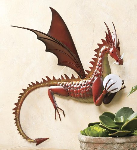 Metal Dragon With Solar Color-Changing Ball Wall Art: Amazon.co.uk ...