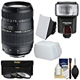 Tamron 70-300mm f/4-5.6 Di LD Macro 1:2 Zoom Lens with 3 Filters + Flash & 2 Diffusers + Kit for Sony Alpha DSLR SLR-A57, A58, A65, A77 II, A99 Cameras