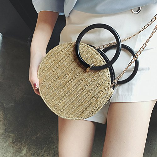Bags Summer Handbags Bags Body Tote Ring Natural Golden Chain Beach Straw Yellow Shoulder Chic Bag Casual Round Handle Cross Women z1wYZq