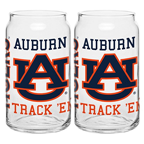 Ncaa Auburn Tigers Team Glass (NCAA Auburn Tigers Spirit Glass Can, 16-ounce, 2-Pack)