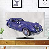 iPrint LCD TV dust Cover,Cars,Custom Vehicle with Aerodynamic Design Compatible High Speeds Cool Wheels Hood Spoilers Decorative,Violet Blue,3D Print Design Compatible 70'' TV
