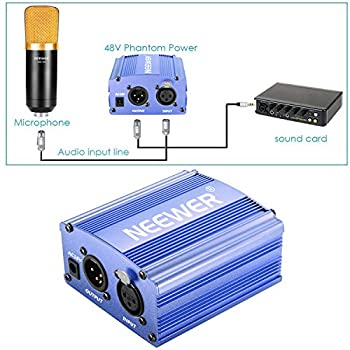 Neewer 1-channel 48v Phantom Power Supply With Adapter & Xlr Audio Cable For Any Condenser Microphone Music Recording Equipment (Blue) 1