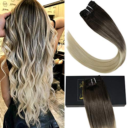 Sunny 7pcs 120g Remy Clip in Blonde Human Hair Extensions 16inch Brown Fading to Platinum Blonde Full Head Straight Clip in Human Hair Extensions Double Weft Balayage Blonde