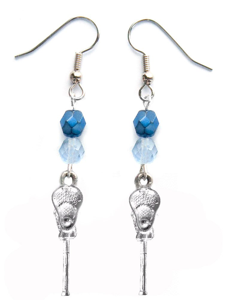 ''Lacrosse Stick & Ball'' Lacrosse Earrings (Team Colors Navy Blue & Light Blue)