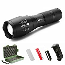 Juzihao JM-T6 Super Bright 4000 Lumens 5 Modes Mini CREE LED Zoomable Flashlights, Water Resistant Portable Camping Torch Light Tactical Flashlight - Rechargeable 18650 Batteries and Charger Included