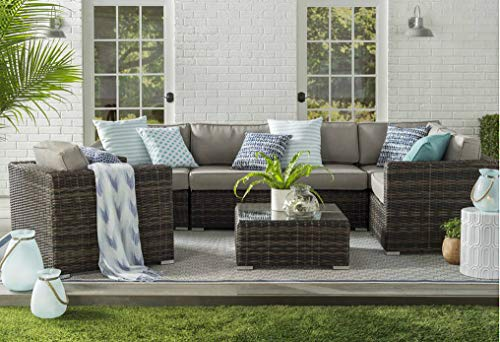 Patio Sofa Set, weather Resistant Outdoor Resort Grade Convertible Set Up Aluminium-Wicker Furniture With Cushioned Seat And Coffee Table By Century modern outdoor (7-piece Set, Brown) -