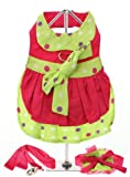 UrbanPup Hot Pink & Polka Dot Harness Dress, Leash & Hat (X-Small – Dog Body Length: 8″ / 20cm) Review