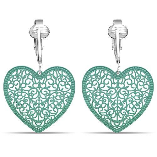 Lovely Victorian Filigree Clip On Earrings for Women Clip-ons, Lightweight Teardrop Leaf Dangle (Sea Green Heart)
