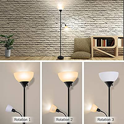 LED Floor Lamp, Modern Standing Uplight, 9W+4W Energy Saving LED Bulbs, with Adjustable Reading Light, 3000K Warm White, Torchiere Floor Lamps for Living Room, Bedroom, Office, Working, Reading