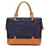 CAMTOP Women Ladies Weekender Travel Bag Canvas Overnight Carry-on Duffel Tote Luggage (Dark Blue-Polka Dot)