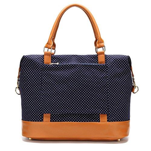 CAMTOP Women Ladies Weekender Travel Bag Canvas Overnight Carry-on Duffel Tote Luggage (Dark Blue-Polka Dot) by CAMTOP