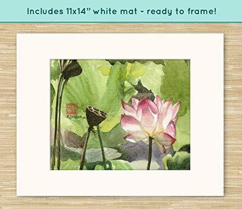 Miller Fine Art Print - Pink Lotus Flower painting, Asian watercolor art, pink lotus art print, pink flower painting, pink Mother's Day gift, Valentine's day artwork
