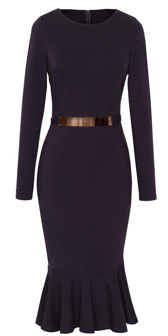 HOMEYEE Women's Business Peplum Dress B242 (XXL, Black)