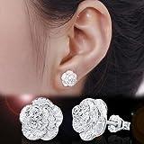 Fashion Women Silver Cherry Flower Ear Stud Earrings Jewelry New