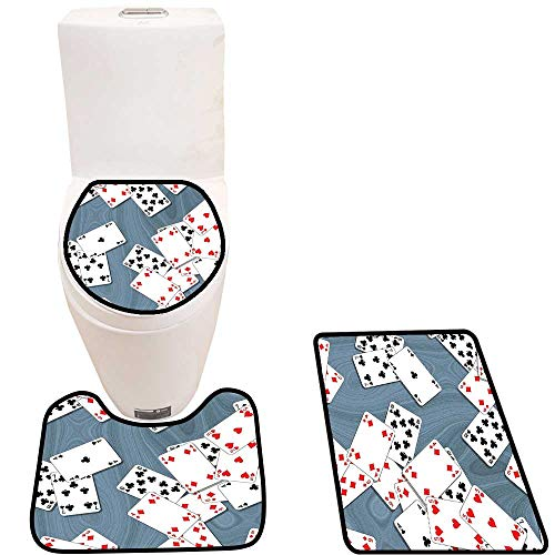 Lid Toilet Cover Abstract Background with Playing Cards Metropolitan Tourist Attractions Personalized Durable