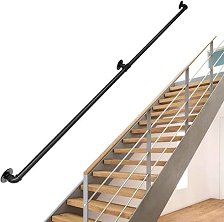Redondo Kit Completo de barandilla de Escalera Industrial |Pasamanos para escaleras para Ancianos Banister Rail para el Interior, Interior, Corredor, Loft |Barandilla de barandilla de Hierro Forjado: Amazon.es: Hogar
