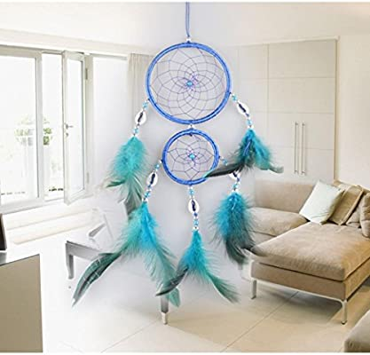 LtrottedJ Handmade Lace Dream Catcher, Feather Bead Hanging Decoration Ornament Gift (Sky Blue)