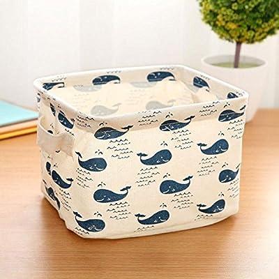 CALISTOUS 1PC Stationery Handicraft Storage Basket Linen Desk Storage Box Whale - Material: Linen + PU. Size: 20*16*14cm-7.9*6.3*5.5inch(appr.). Color:as the picture. - living-room-decor, living-room, baskets-storage - 5191n9FGZXL. SS400  -