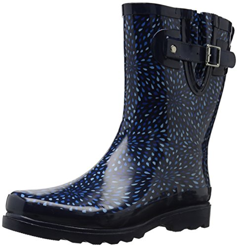 Western Chief Women's Waterproof Printed Mid Height Rain Boot, Raindrop Burst, 7 M US
