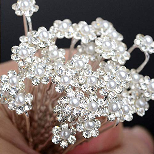 Women Pearl Rhinestone White Diamante Crystal Hair Pins Clips Prom Gift 29A7523