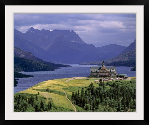 GreatBIGCanvas ''Alberta, Waterton Lakes National Park, The Prince of Wales Hotel'' by Ric Ergenbright Photographic Print with Black Frame, 36'' x 29''