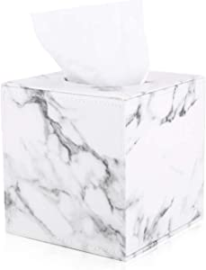 GORESE Square PU Leather Tissue Box Holder, Home and Office Napkin Box Cover for Bedroom, Desks, Night Stands, Bathroom Vanity Countertops, Car Decoration(White Marble)