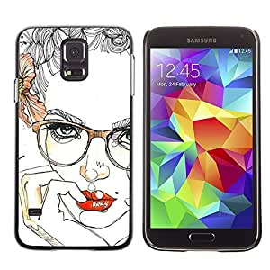 Colorful Printed Hard Protective Back Case Cover Shell Skin for SAMSUNG Galaxy S5 V / i9600 / SM-G900F / SM-G900M / SM-G900A / SM-G900T / SM-G900W8 ( Lips Sensual Girl Red Smart Glasses )