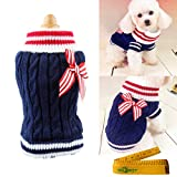 Pet Dog Sweater Knitted Braid Plait Turtleneck Navy Style Bowknot Knitwear Outwear for Dogs & Cats (Blue, M)