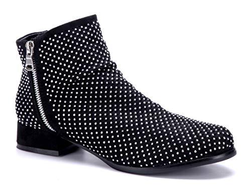 Reißverschluss cm Damen Ziersteine Schwarz Schuhtempel24 Blockabsatz Boots Stiefel Stiefeletten Schuhe 3 Klassische 0qFvg
