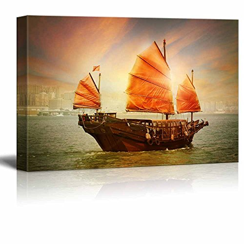 Canvas Prints Wall Art - Hong Kong Junk Boat at Sunset Vintage/Retro Style   Modern Wall Decor/Home Decoration Stretched Gallery Canvas Wrap Giclee Print & Ready to Hang - 32
