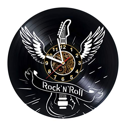 AlinasSHOP Rock 'N' Roll- Wall Clock Made of Vinyl Record - Handmade - Unique Design - Great Gifts idea for Birthday, Women, Men, Friends, Girlfriend Boyfriend and Teens, Music -