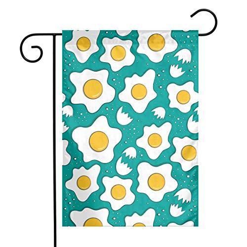 KIMBERLYBLAINE Fried Eggs and Egg Shell Seasonal Garden Flag for Outdoors Holiday 12 X 18 Inch Outdoor Yard Flags, Decorative House Yard Flag Single Sided, Polyester, Durable