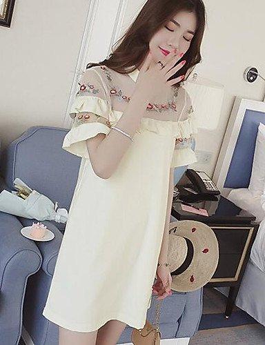 Mujer Vaina Vestido Casual/DiarioUn Color Cuello Barco Midi Manga Corta Seda Modal Verano Tiro Medio Microelástico Fino , xl