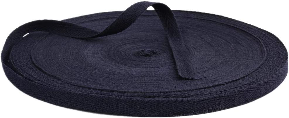 Cinta de algodón, 50 metros, cinta de espiga, cinta de tela para encuadernación, envolver regalos, adornos, manualidades, ancho de 10 mm, azul marino, 10mm x 50meters: Amazon.es: Hogar