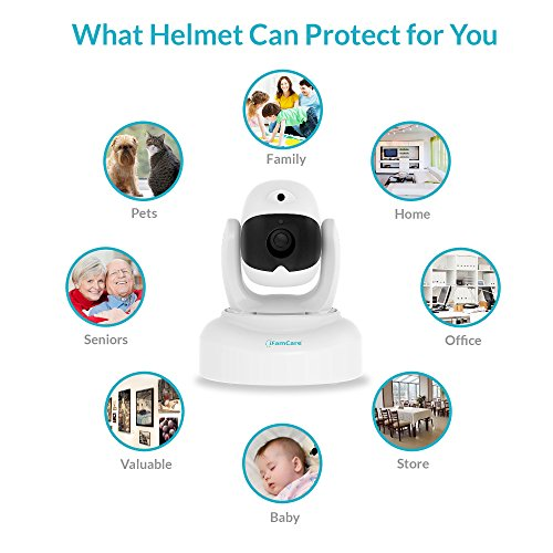 iFamCare 860321000116 Helmet Pan and Tilt Indoor 1080p Wi-Fi Wire-Free Security Camera White