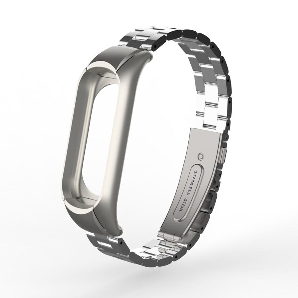 Lywey For Xiaomi Mi Band 3 Wristband, Adjusted Perfect Replacement Fashion Stainless Steel Luxury Wrist Strap Metal Bracelet (Silver)