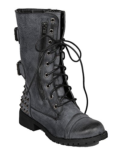 Harley 12 Womens Military Lace up Studded Combat Boot Black 8 (Womens Military Boots)