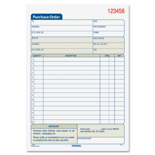 Top Adams Purchase Order Book, Carbonless, 5.56 x 8.44 Inches, White and Canary, 2-Part, 50 Sets (DC5831) free shipping
