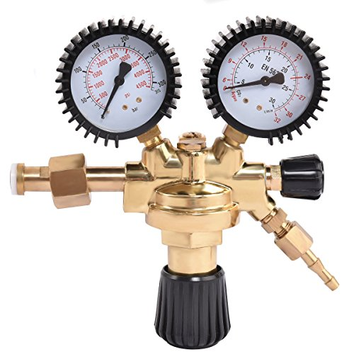 Goplus CO2 High Pressure Regulator Nitrogen Reducer Dual Gauge Gas Regulator 0-4500 PSI by Goplus