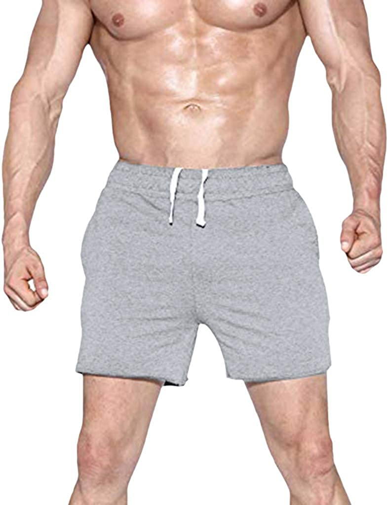 Mijaution Fashion Mens Elastic Drawstring Zipper Pocket with Belt Casual Solid Color Sports Shorts Tennis Shorts