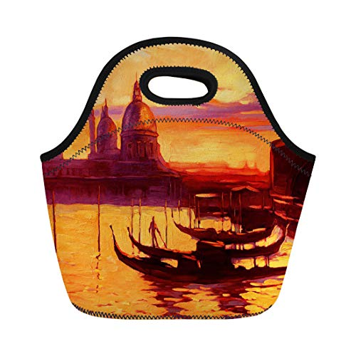 - Semtomn Neoprene Lunch Tote Bag Promenade and Pier Gondola in Venice Oil Painting Reusable Cooler Bags Insulated Thermal Picnic Handbag for Travel,School,Outdoors, Work
