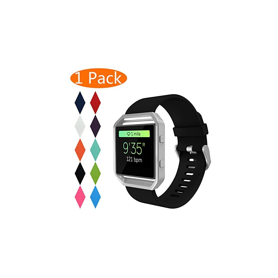 KingAcc Fitbit Blaze Bands, Soft Accessory Replacement Band for Fitbit Blaze, with Metal Buckle Fitness Wristband Strap Women Men Large Small [No Frame]