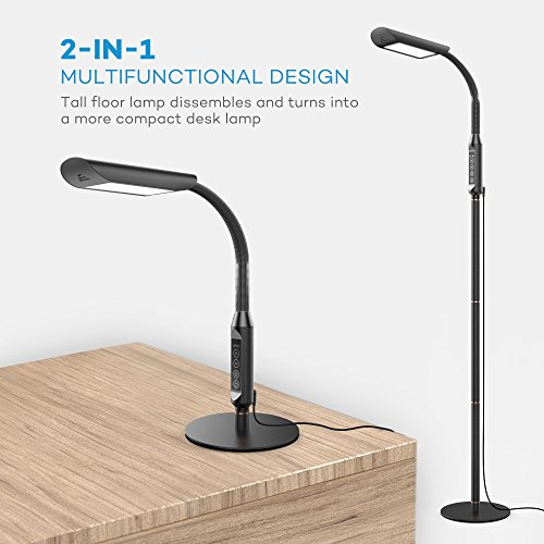 Floor Lamp, VAVA Dimmable LED Floor Lamps for Living Room, 1815 Lumens & 50,000 Hours Lifespan, Standing Lamp Desk Lamp Two in One, Flexible Gooseneck, Touch Control Panel, UL Adapter, 12W, Black by VAVA (Image #5)