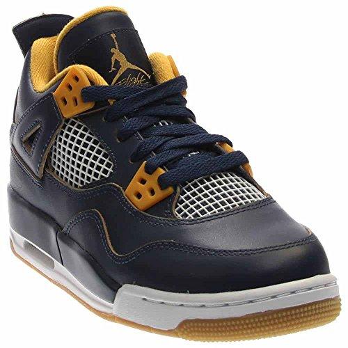 Nike Air Jordan 4 Retro BG Zapatillas de deporte, Niños Azul / Blanco (Mid Nvy / Mtlc Gld Str-Gld Lf-Wh)